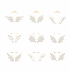 wings icon set birds and angel vector image