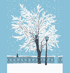 winter landscape with a cat in snow-covered park vector image