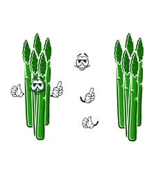 Asparagus vegetable spears cartoon character vector image