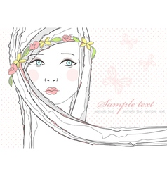Background with girl flowers and butterfly vector