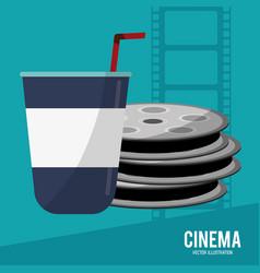 cinema film reel soda disposable vector image