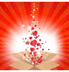 Gift Box With Stars And Hearts vector image