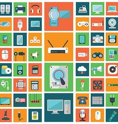 Set of modern flat electronic devices icons vector image