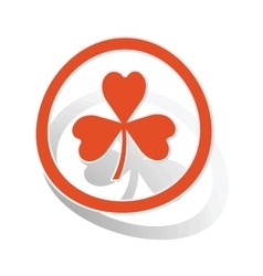 Clover sign sticker orange vector image