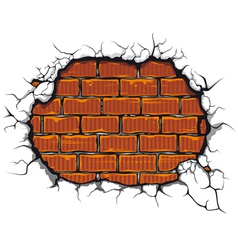 damaged brickwall vector image