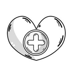 Line heart medicine symbol to help the people vector