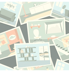 Pattern with home interior photos vector image vector image