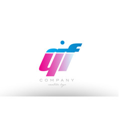 qf q f alphabet letter combination pink blue bold vector image