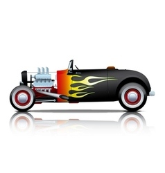 black vintage hot rod with flames vector image