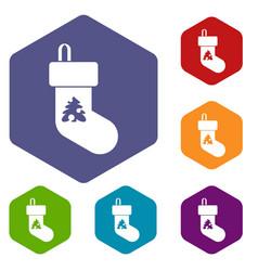 christmas sock icons set vector image vector image
