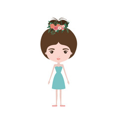 colorful caricature skinny woman in dress with bun vector image