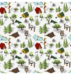 Hiking composition in isometric elments vector image vector image