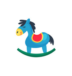 icon of blue plastic rocking horse little pony vector image