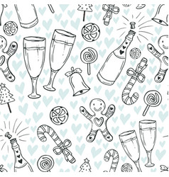 new year pattern christmas wrapping paper cute vector image vector image