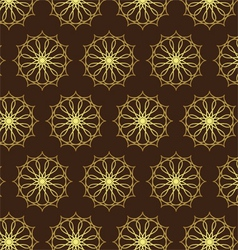 Retro Gold Flower and Gear Pattern on Dark Brown vector image vector image