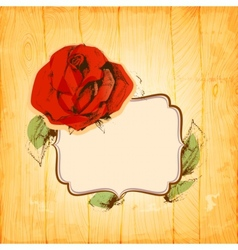 Rose frame over vintage wood texture background vector image