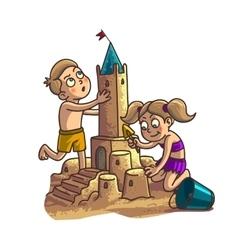 Summer fun sand castle Cute cartoon little Happy vector image