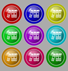 binders icon sign symbol on nine round colourful vector image