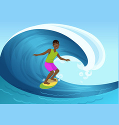 black cheerful man riding vector image