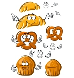Cake croissant and pretzel characters vector image vector image