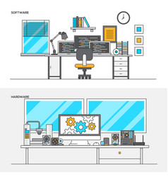 flat line color concept- software and hardware vector image vector image