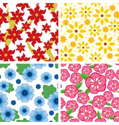 flower pattern set vector image vector image