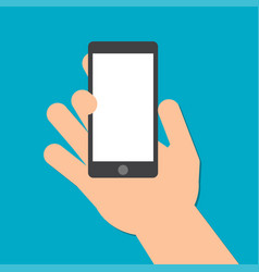 hand holds a smart phone in the vertical position vector image vector image