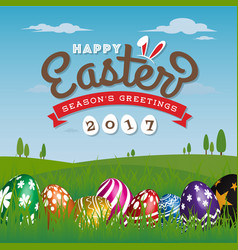 happy easter season greeting card vector image