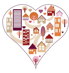 Heart pattern with different houses and trees vector image