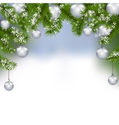 Holiday card Green fir branches with silver balls vector image