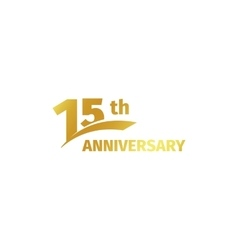 Isolated abstract golden 15th anniversary logo on vector image vector image