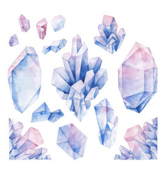 watercolor pastel colored crystals vector image