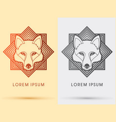 wolf fox head face vector image vector image