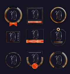 10 years anniversary logo set vector image