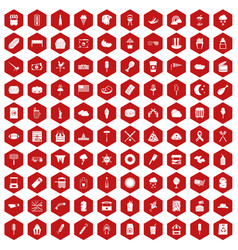 100 street food icons hexagon red vector