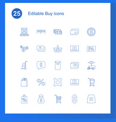 25 buy icons vector image