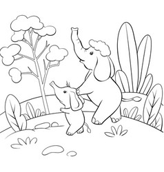 a children coloring bookpage two elephants on the vector image