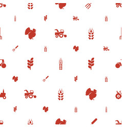 Agricultural icons pattern seamless white vector