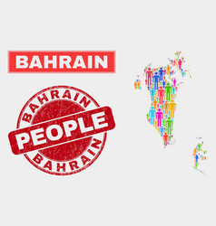 Bahrain map population people and corroded stamp vector