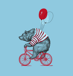 bear ride bike balloon grunge print vector image