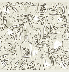 Beige seamless patterns with olive plant vector