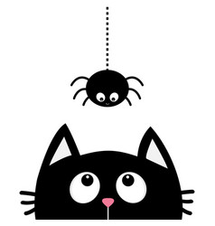 black cat face head silhouette looking up to vector image