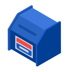 Blue mailbox icon isometric style vector