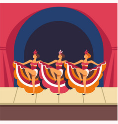 Cabaret girls dancing cancan on stage vector