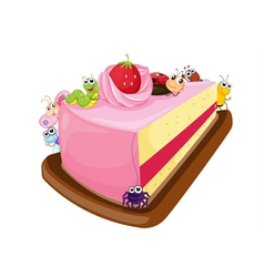 Cake and various insects vector