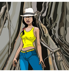 cartoon girl in a hat T shirt and jeans on a wood vector image