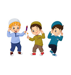 Cartoon muslim kid playing firework vector
