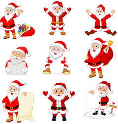 cartoon santa claus collection set vector image