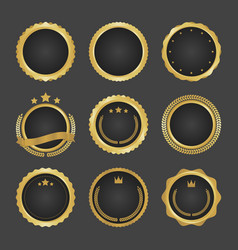 Collection of modern gold circle metal badges vector