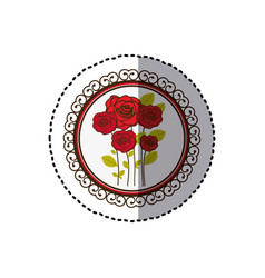 Color decorative emblem with oval roses inside vector